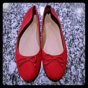 Gap red suede ballet flats size 10
